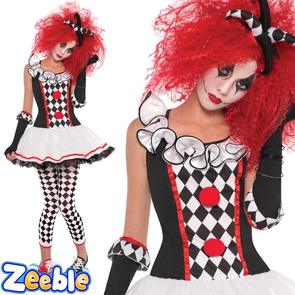 Ladies Jester Harlequin Halloween Costumes Womens Fancy Dress | eBay