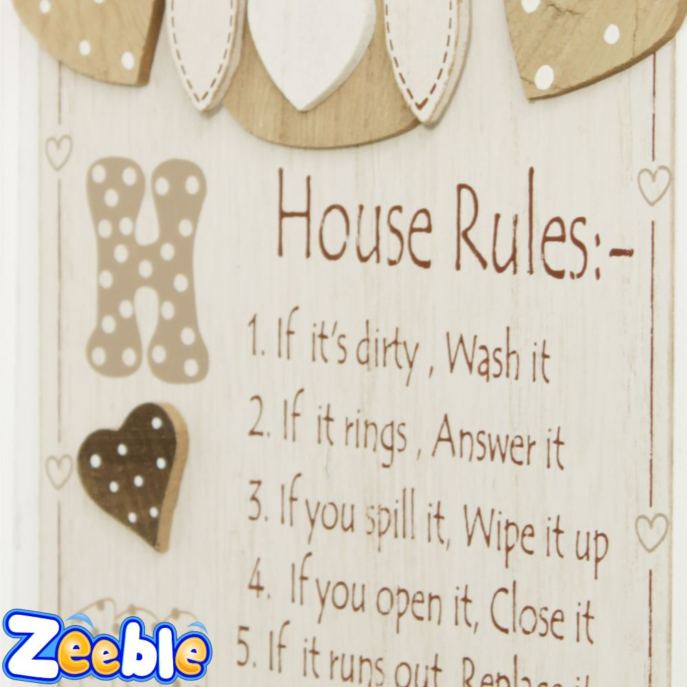 house rules or bathroom rules sign cute owl wood hanging plaque