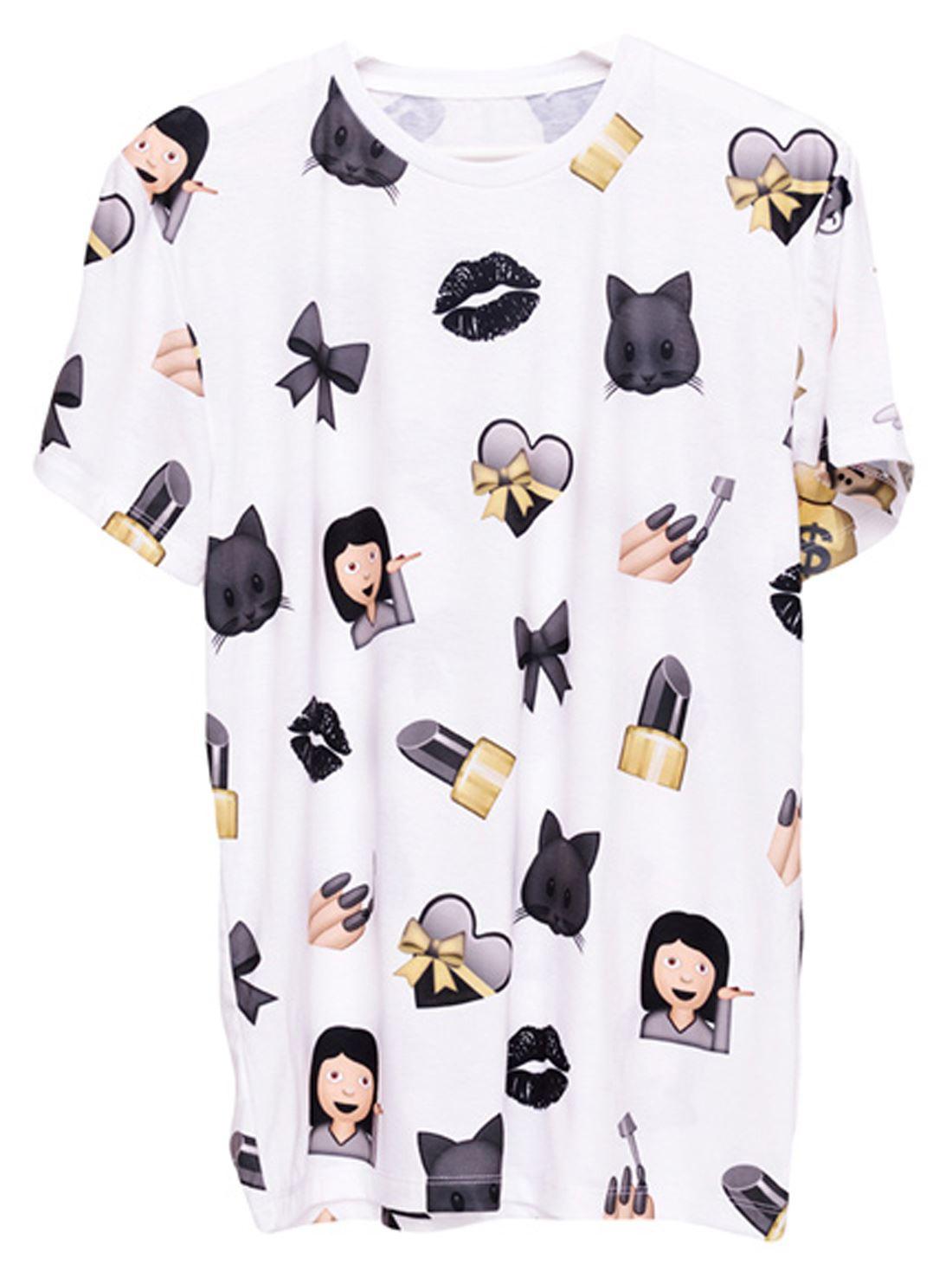 womensgilrs large gym tshirt emoji black smile white