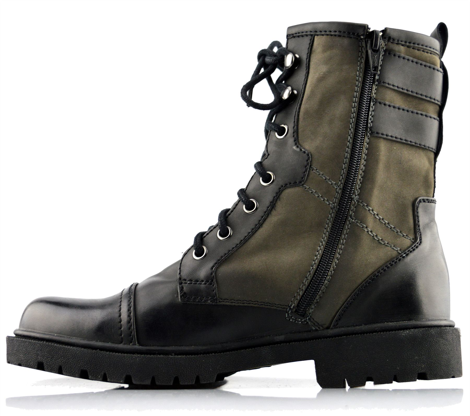 Mens New Military Biker Style Lace Up Zip Ankle High Boots Shoes ...