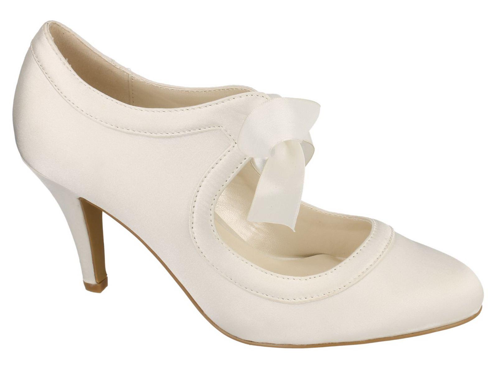 womens ivory satin wedding bridal slip on lace