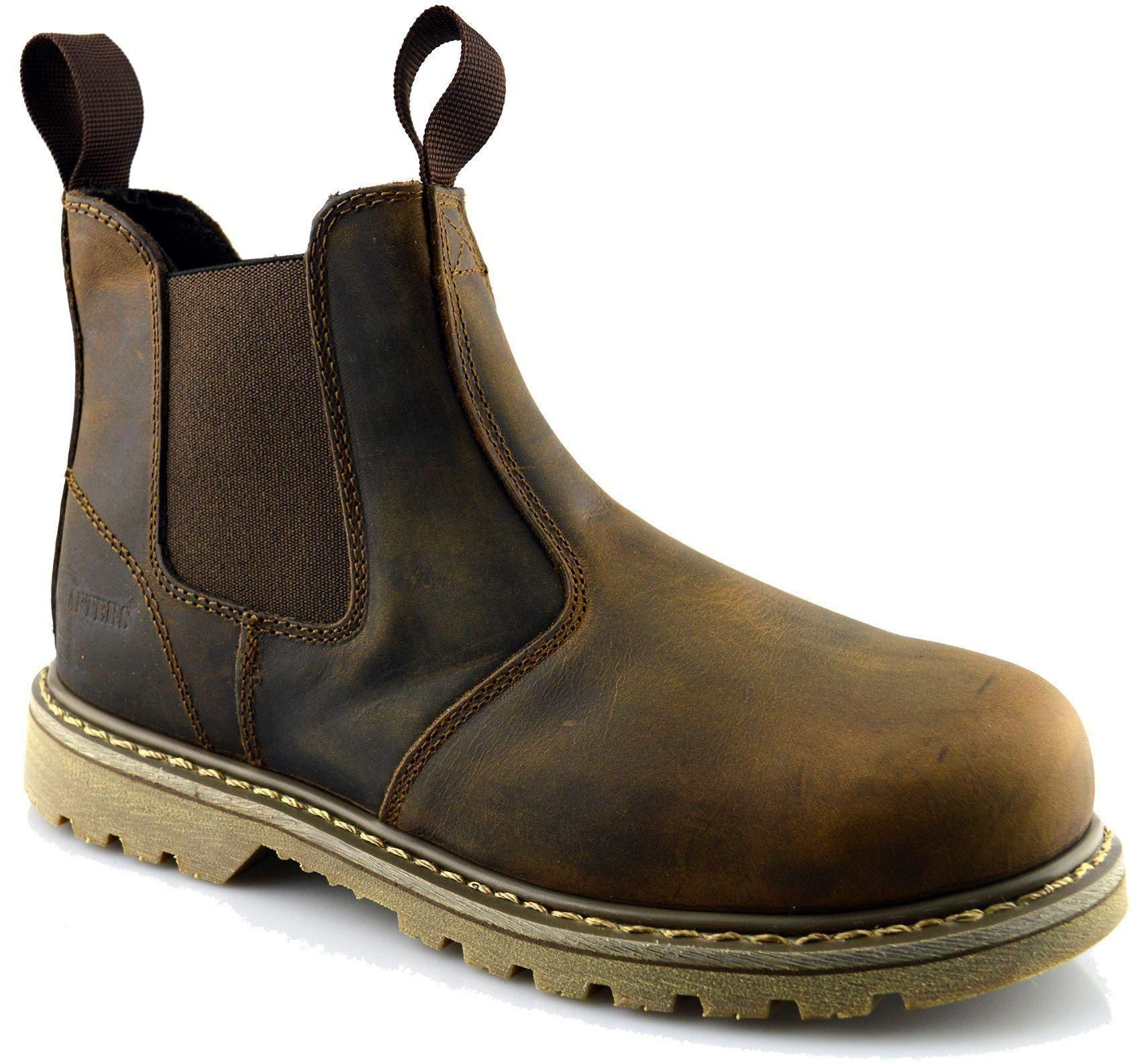 mens leather goodyear welted safety dealer chelsea work