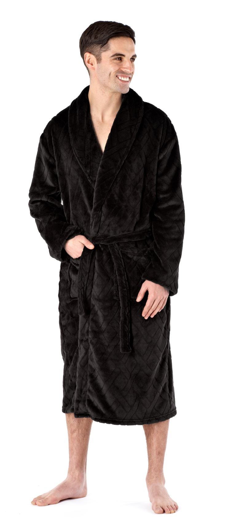 Mens Deluxe Luxury Dressing Gown Robe Bathrobe Soft Winter Warm ...