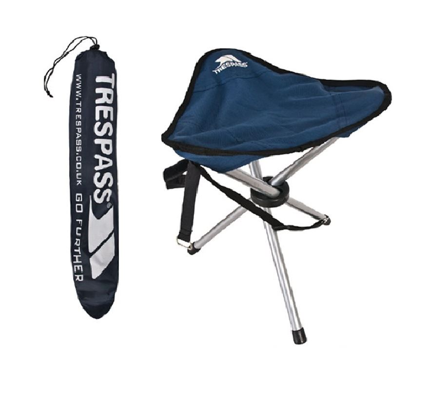 Trespass Branded Folding Tripod Stool With Carrying Bag