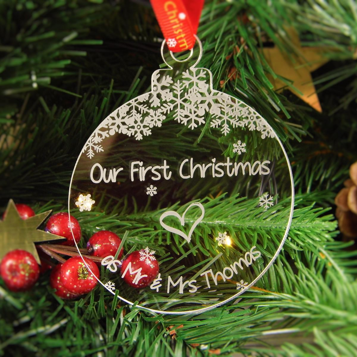 Mr and mrs christmas tree decoration - The Baubles Are A Blank Canvas So Please Let Us Know The Exact Full Message You Would Like Engraved