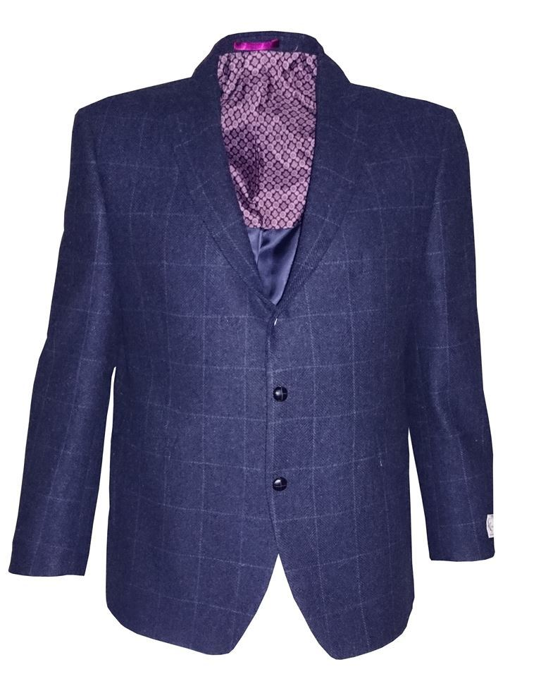 SCOTT Mens Pure New Wool Herringbone Over Check Tweed Sports ...
