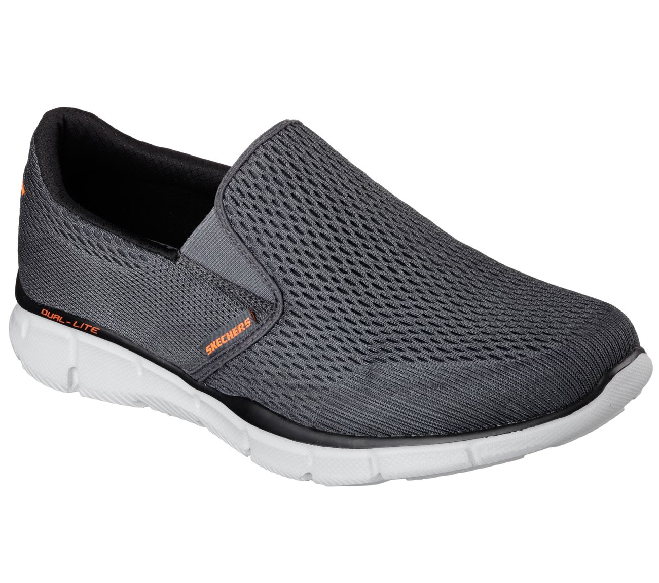 SKECHERS Men's Equalizer-Double Play Trainers in Charcoal orange,Size UK5.5-UK13
