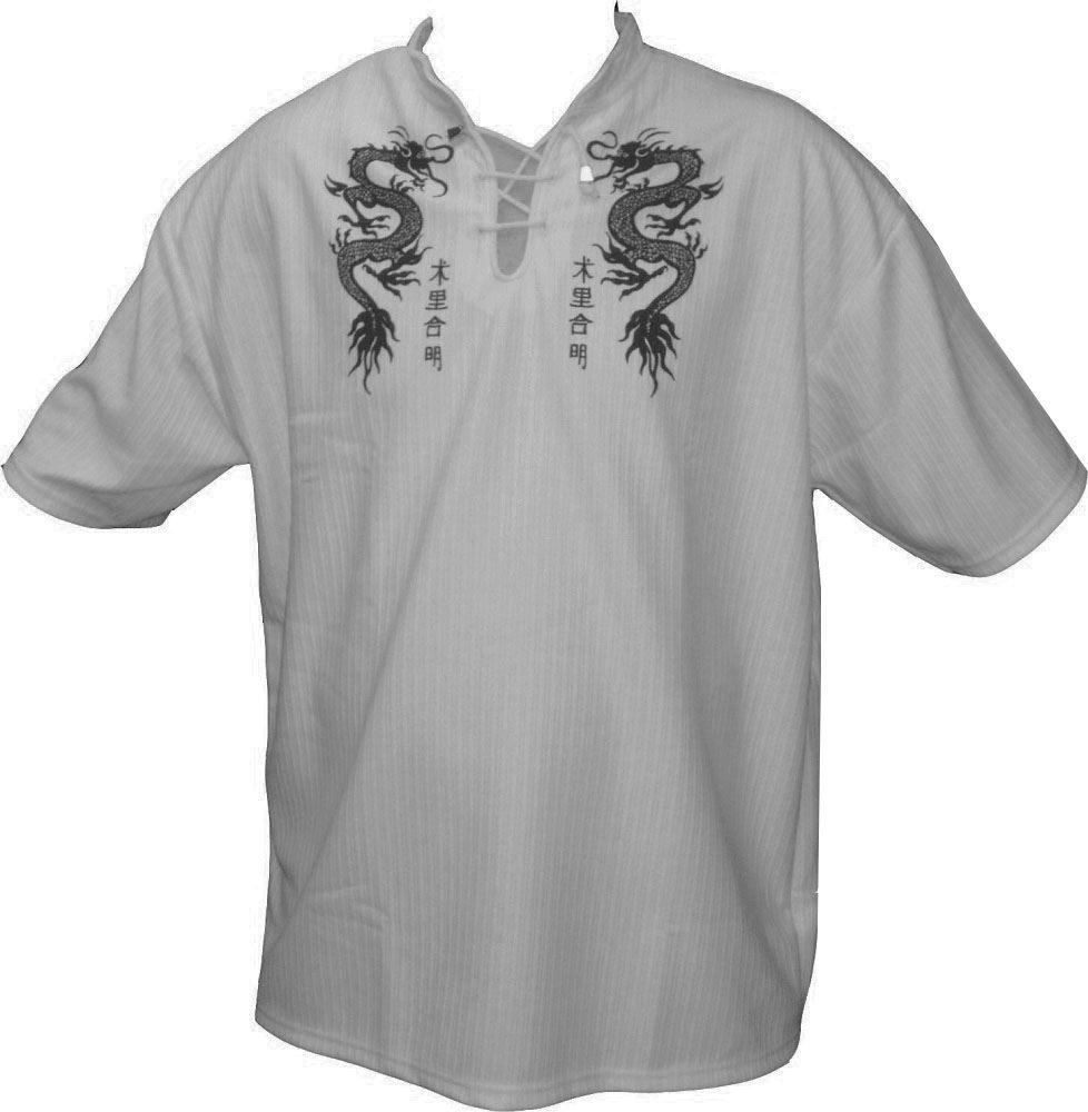 Mens Easy Care Dragon Printed Mandarin Collar Tee Shirt