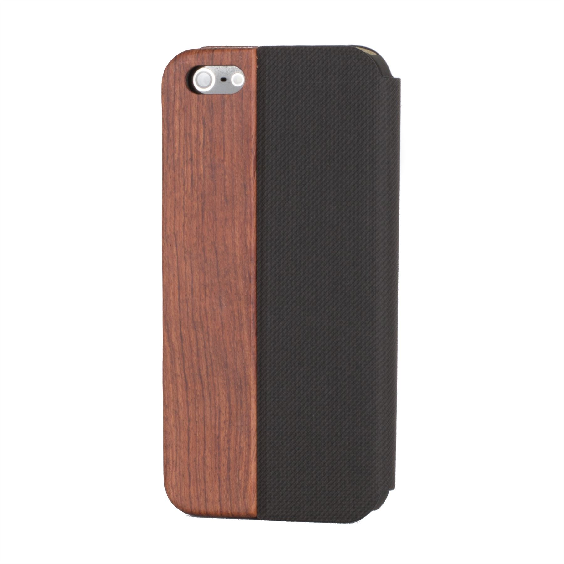 Snakehive Real Wood Leather Wallet Flip Case Cover For