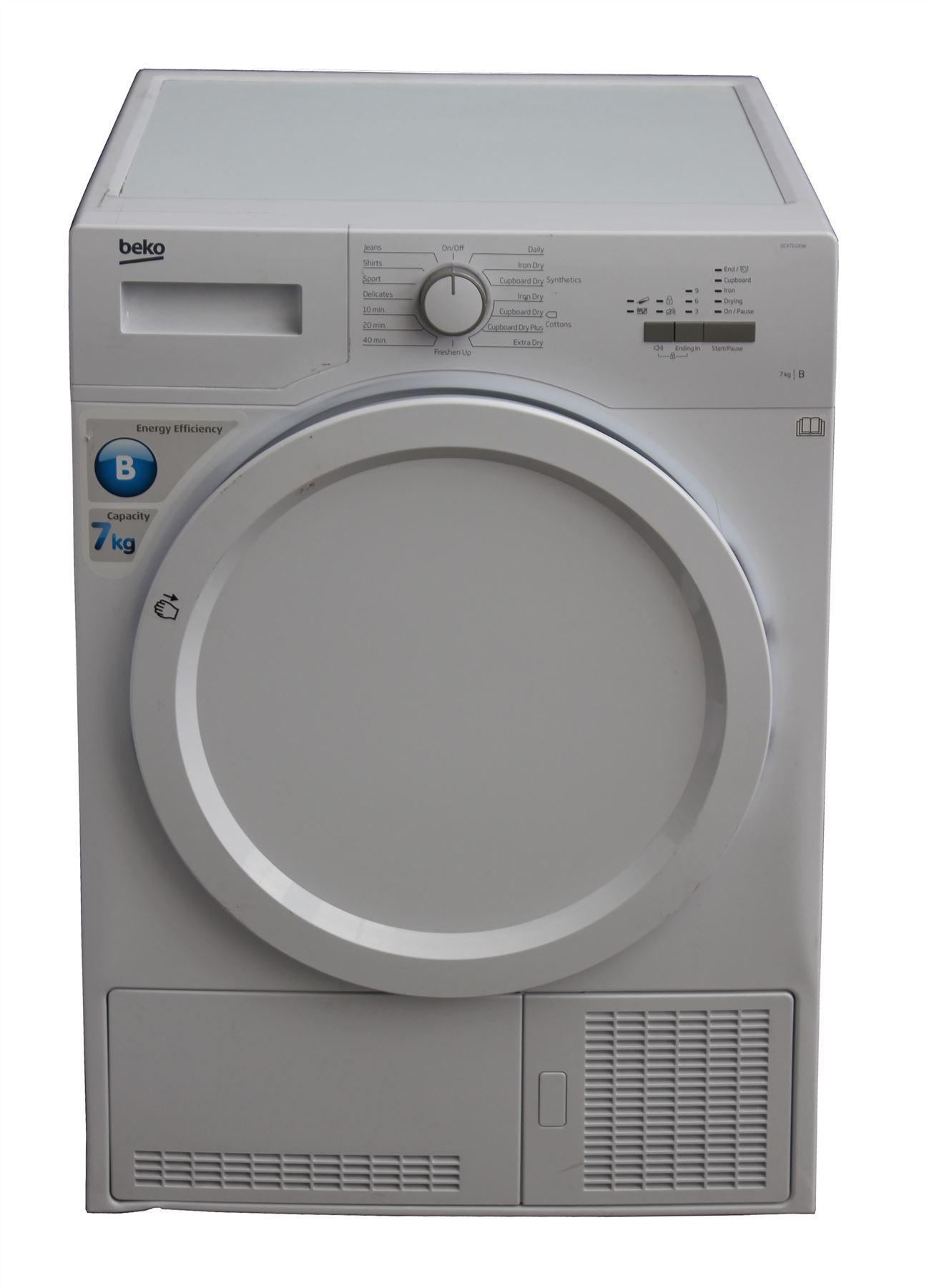 beko condenser tumble dryer dcx71100w white freestanding. Black Bedroom Furniture Sets. Home Design Ideas