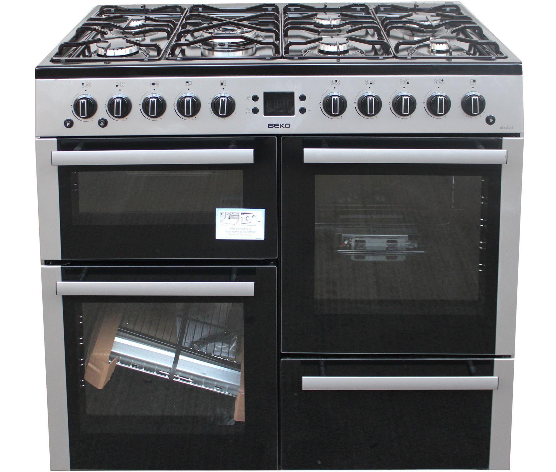 Double Double 100cm : Beko cm gas range cooker be double oven burners