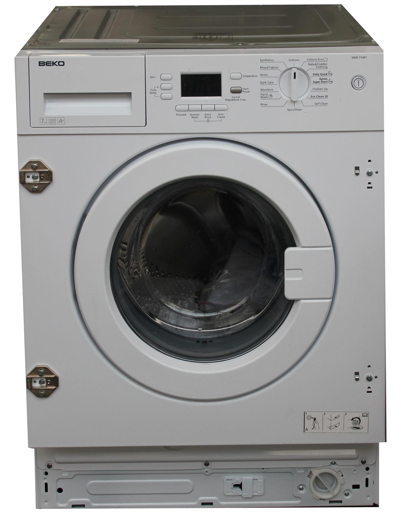 beko wmi71441 integrated washing machine built in 7 kg. Black Bedroom Furniture Sets. Home Design Ideas
