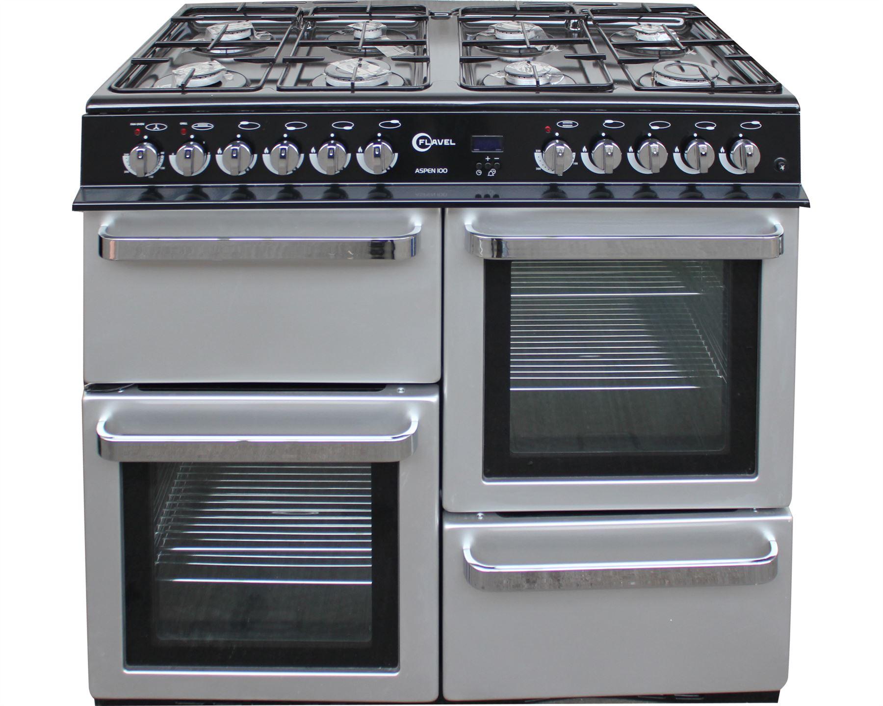 Double Double 100cm : Flavel range cooker dual fuel double oven burner