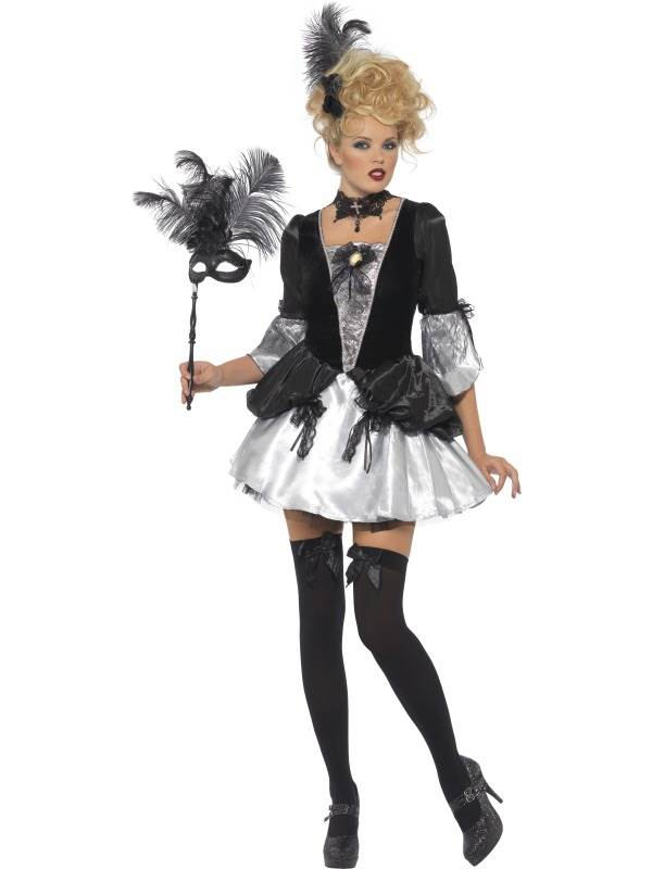 LADIES FEVER BAROQUE FANTASY COSTUME BLACK WHITE MASQUERADE