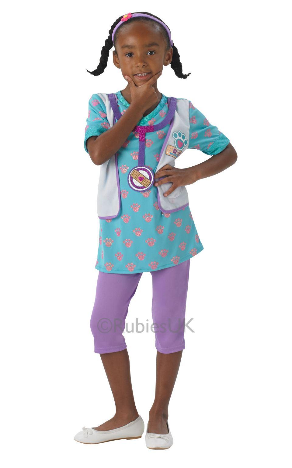 GIRLS DOC MCSTUFFINS PET VET CHILDREN COSTUME TV FANCY DRESS ...