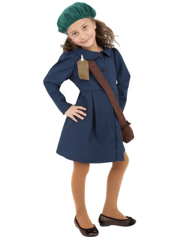 CHILDREN-039-S-WORLD-WAR-II-EVACUEE-GIRL-FANCY-DRESS-COSTUME-WW2-OUTFIT