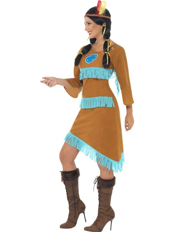 LADIES-NATIVE-RED-INDIAN-PRINCESS-COSTUME-WOMENS-FANCY-  sc 1 st  eBay & LADIES NATIVE RED INDIAN PRINCESS COSTUME WOMENS FANCY DRESS COWGIRL ...