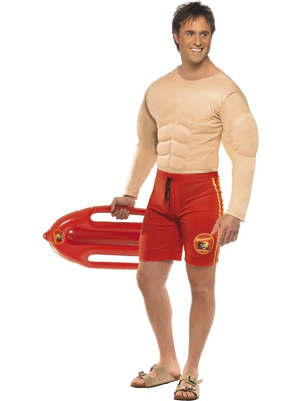 Details about MENS BAYWATCH LIFEGUARD COSTUME PADDED MUSCLE SIX PACK ...