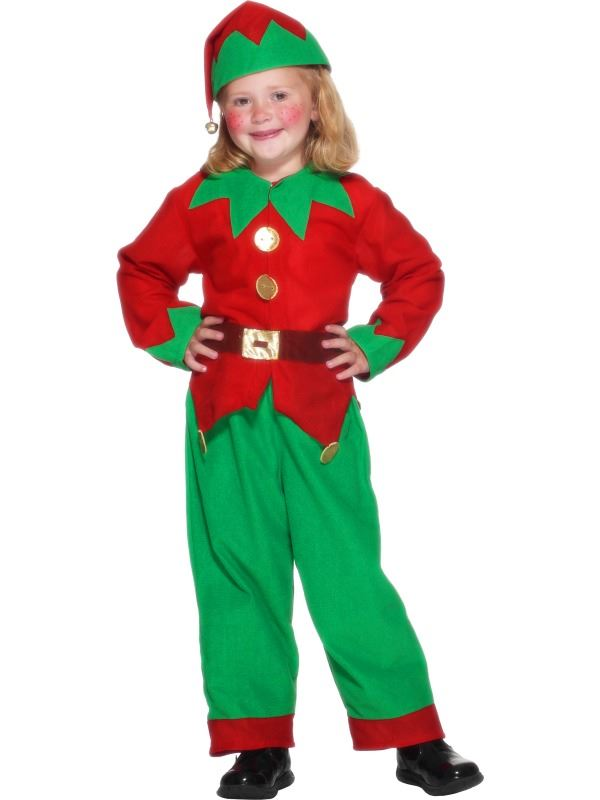 KIDS GREEN & RED ELF FANCY DRESS COSTUME CHILDS CHRISTMAS OUTFIT ...
