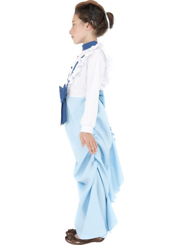 GIRLS-BLUE-POSH-GIRL-VICTORIAN-FANCY-DRESS-COSTUME-KIDS-EDWARDIAN-OUTFIT