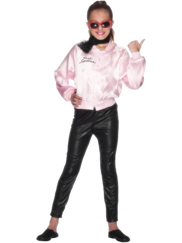 GIRLS-PINK-LADY-JACKET-FANCY-DRESS-COSTUME-KIDS-GREASE-GIRL-1950s-FILM-OUTFIT