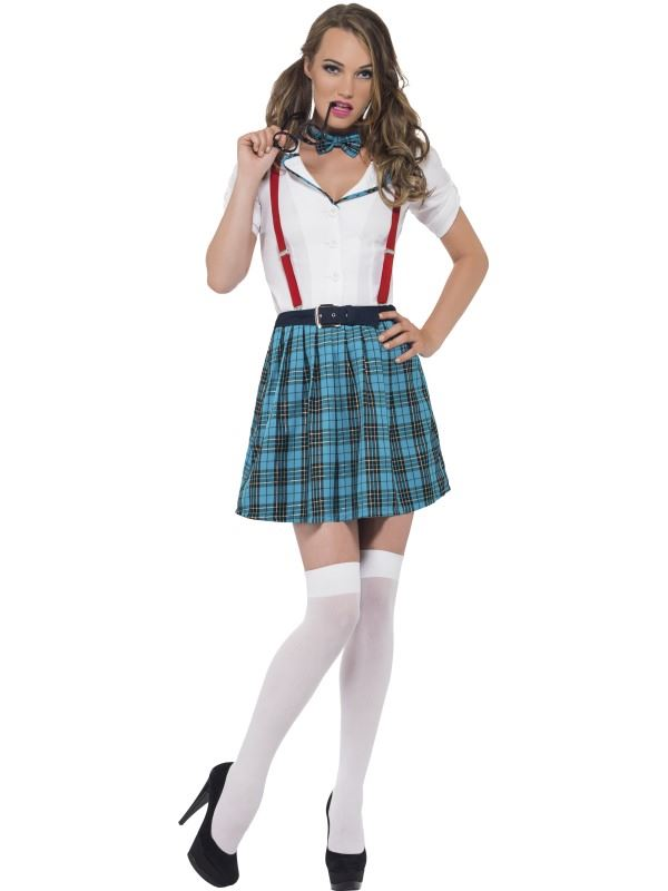 LADIES GEEK CHIC NERD SEXY FANCY DRESS COSTUME SCHOOL GIRL