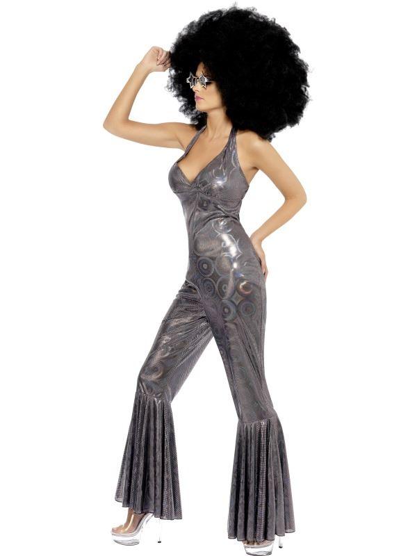 LADIES DISCO DIVA COSTUME RETRO 1970s SILVER JUMPSUIT FLARES FANCY DRESS OUTFIT | EBay