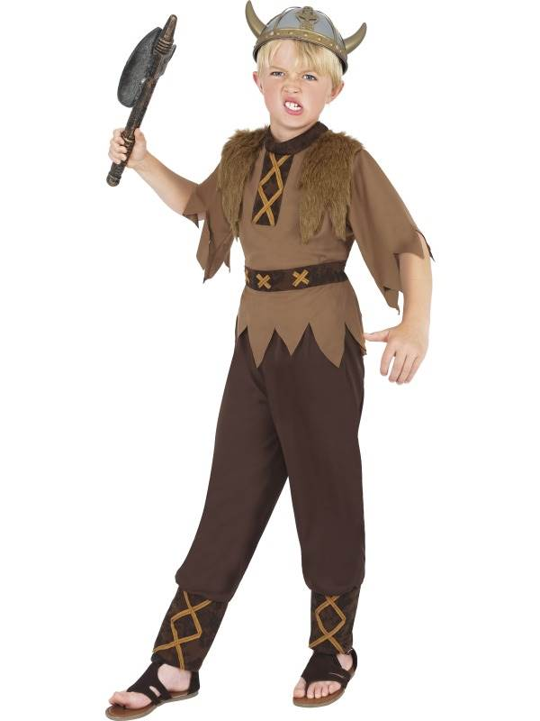 BOYS-BROWN-VIKING-FANCY-DRESS-COSTUME-CHILDS-KIDS-NORSE-WARRIOR-OUTFIT