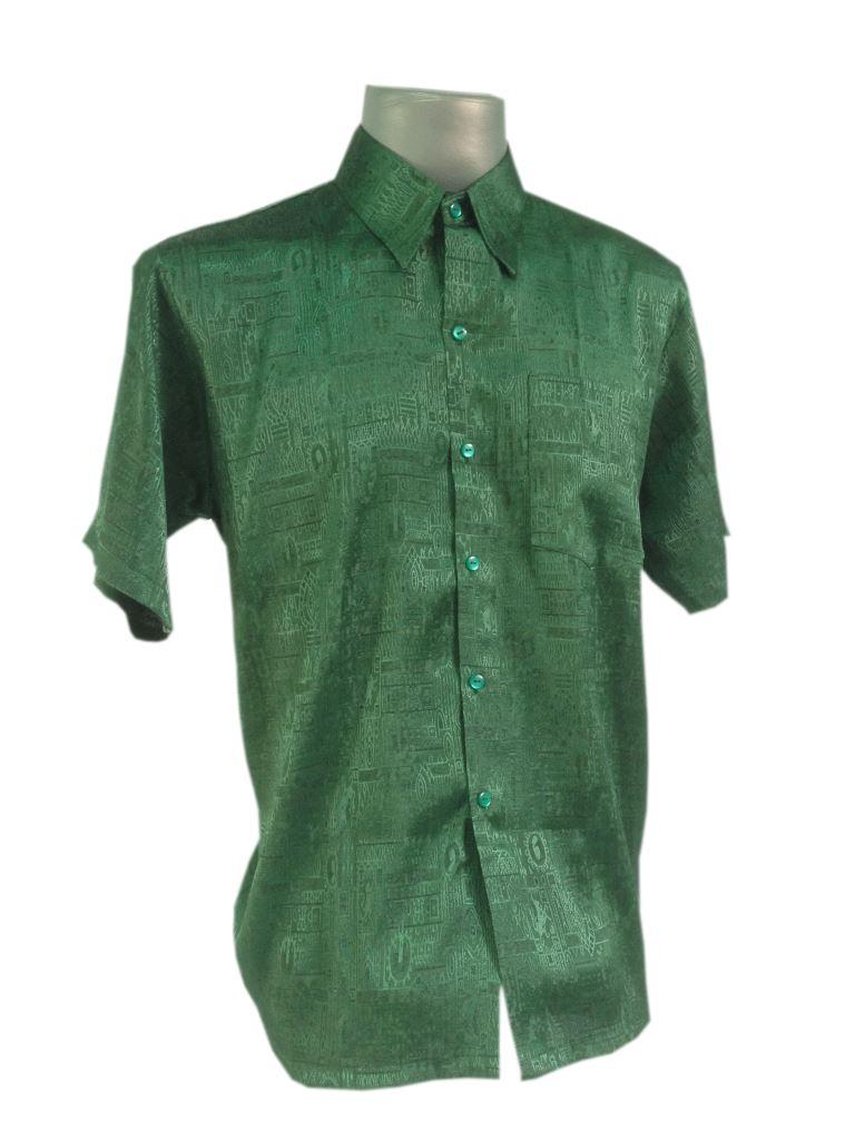 New mens jacquard thai silk shirts casual button down for Silk button down shirt