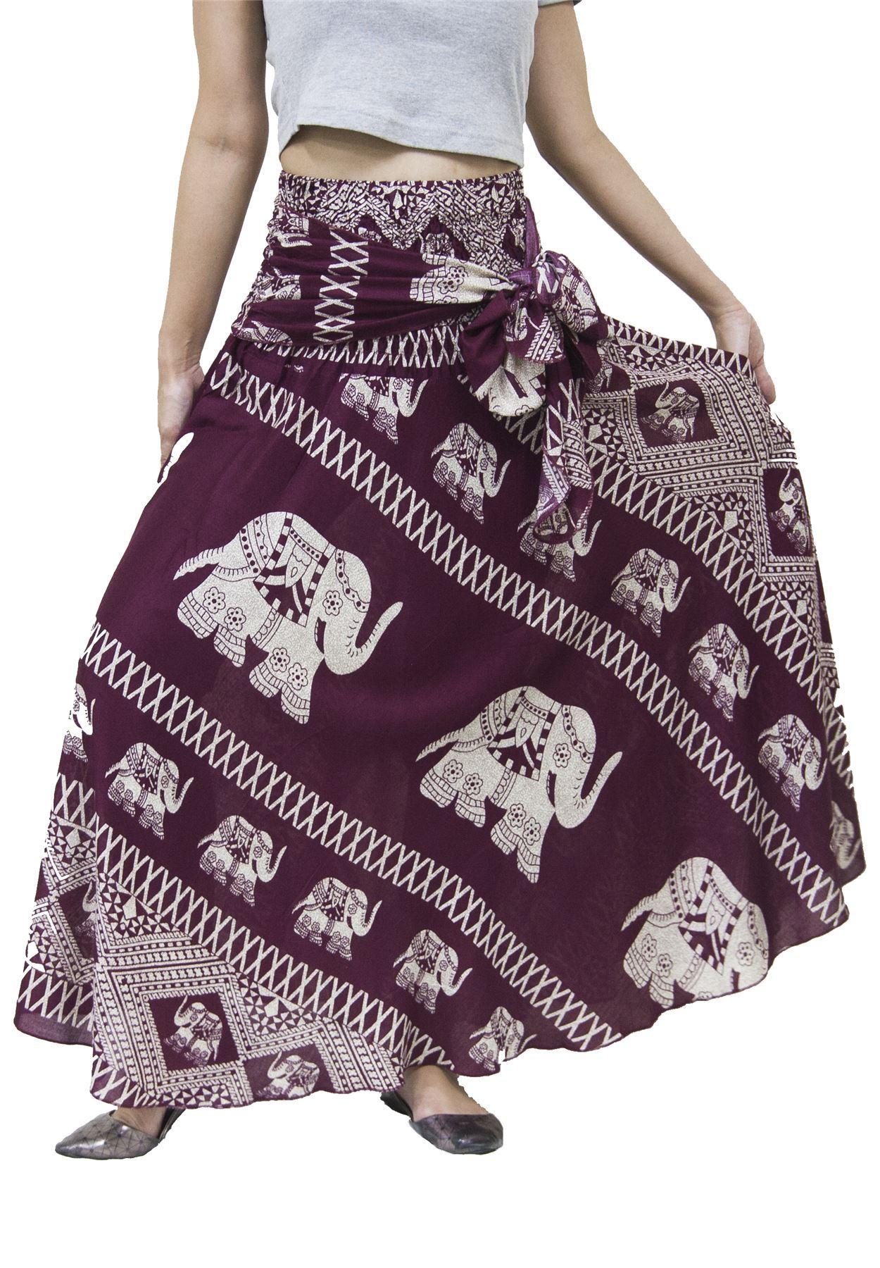 Lofbaz Women's Bohemian Boho Hippie Gypsy Long Skirts Dresses