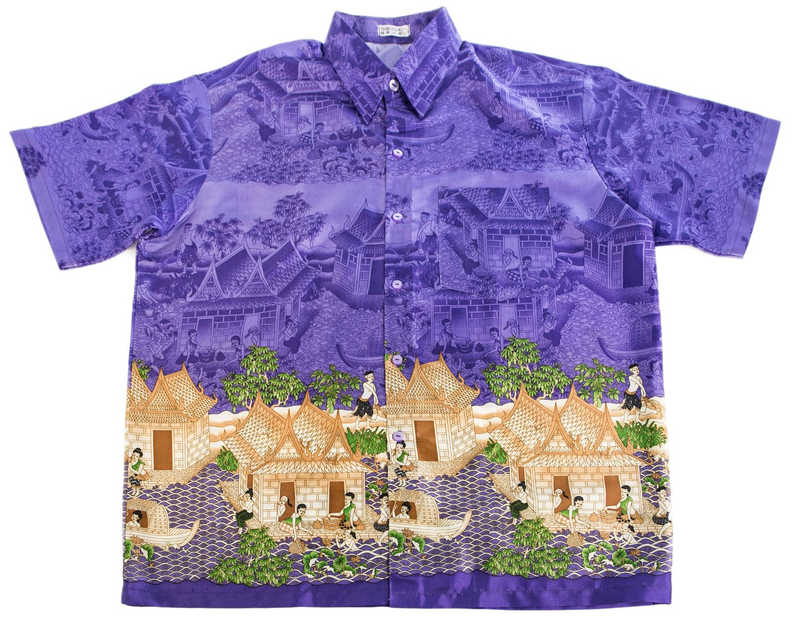 117e61339e4 Mens Thai Silk Short Sleeve Shirts