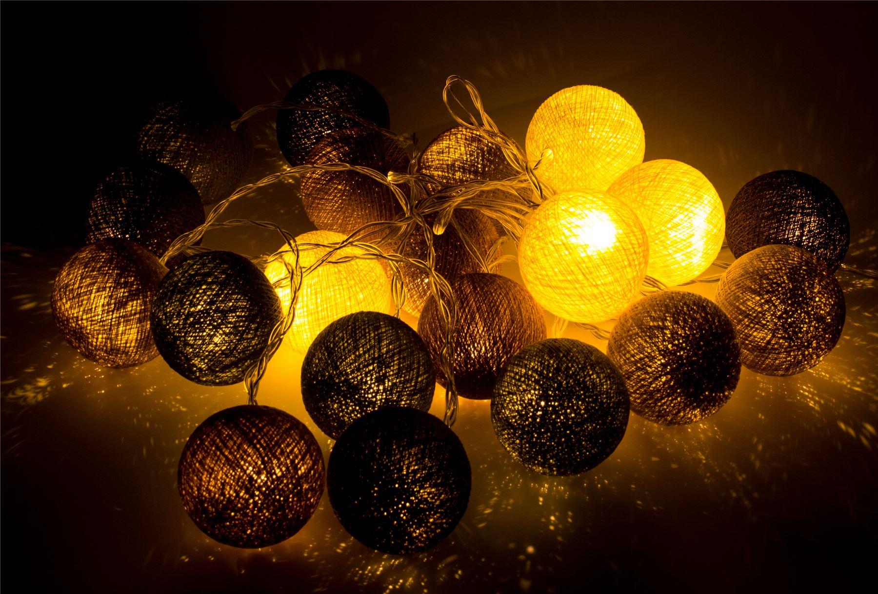 Ball String Lights Indoor : Cotton Ball String Fairy Lights/Indoor Christmas Bedroom Party Patio Wedding eBay