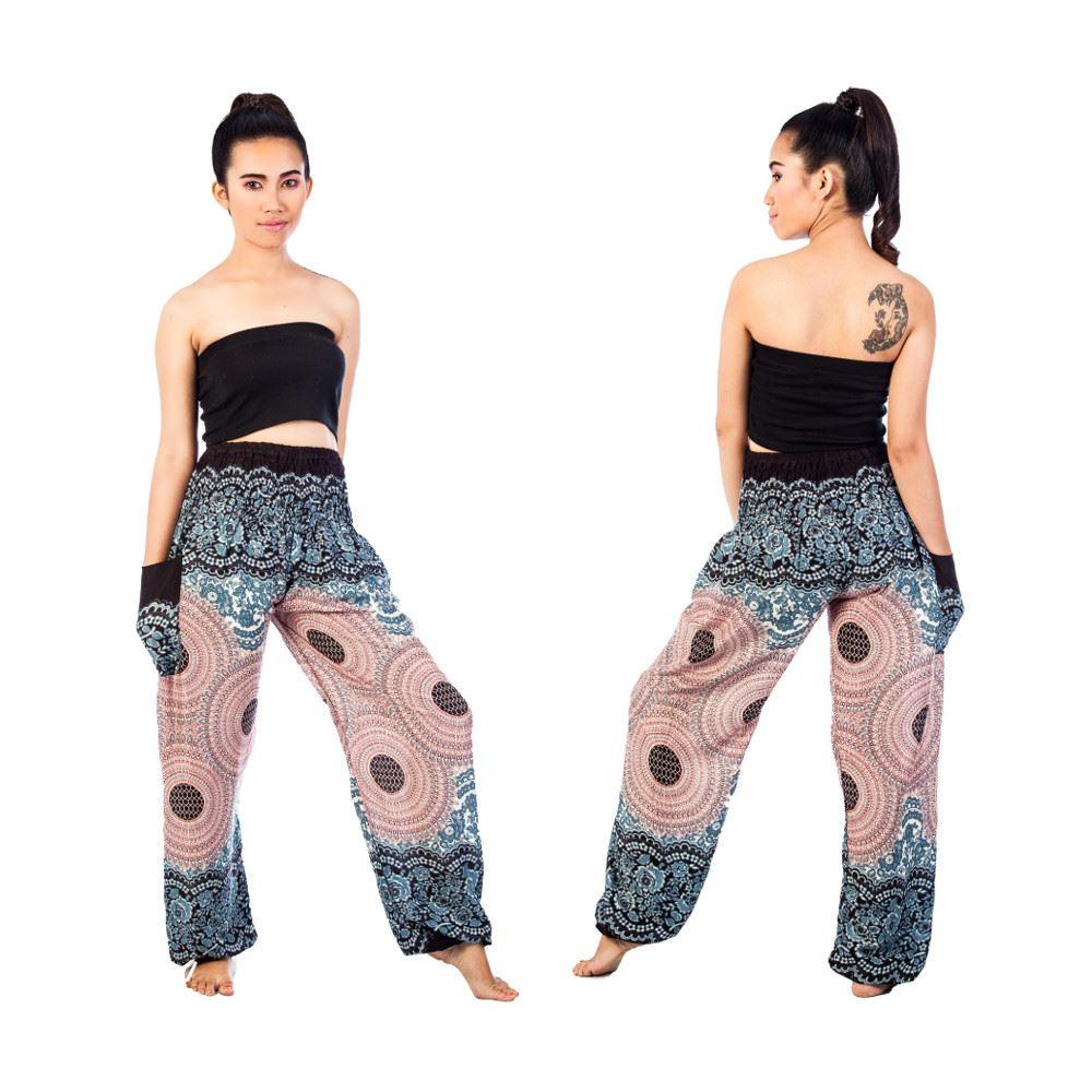 Women Floral Smocked Waist Boho Long Pants Yoga Harem Hippie Trousers