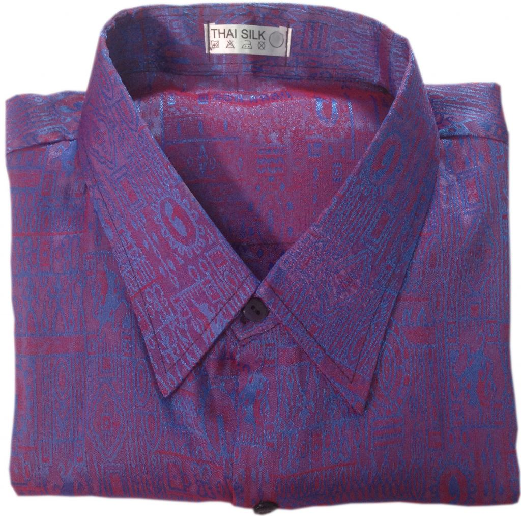 NEW Mens Jacquard Thai Silk Shirts/Casual Button Down Vintage ...