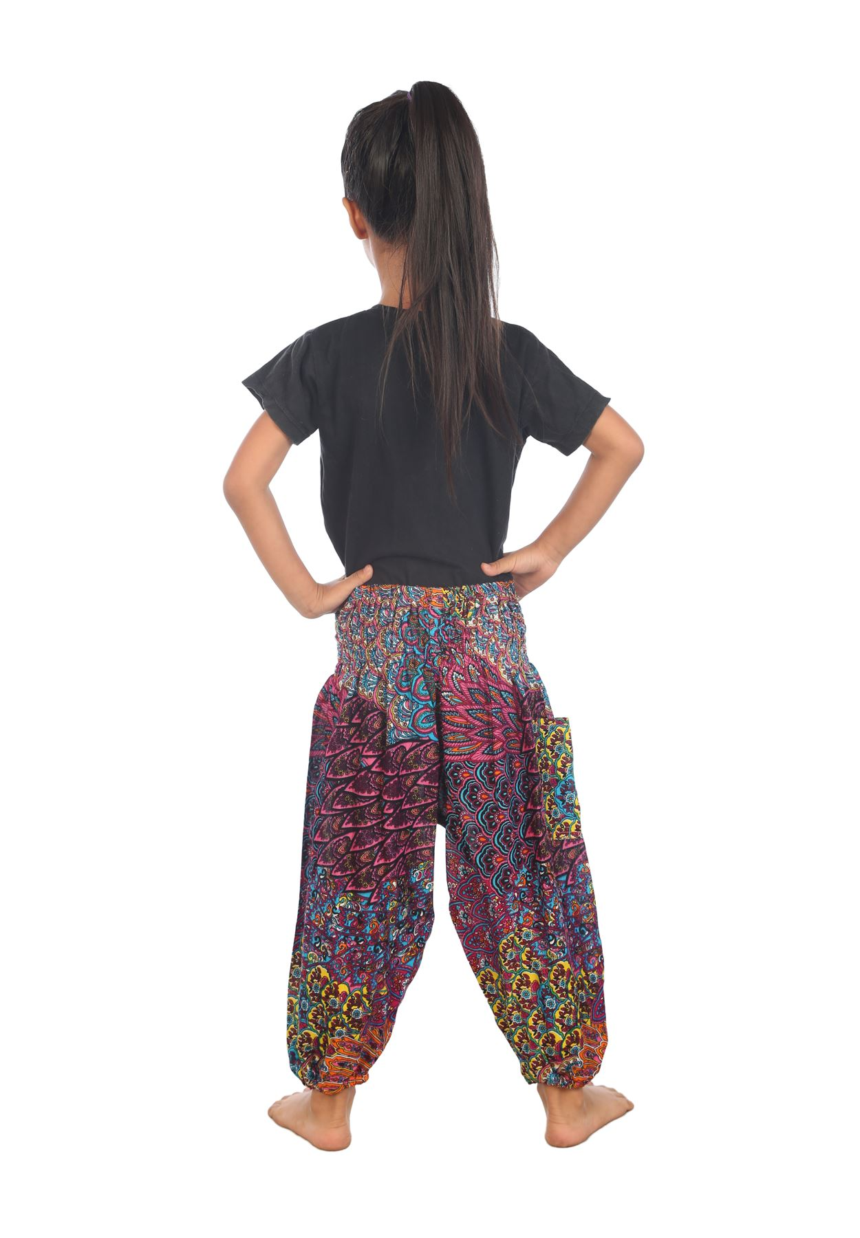 Harem pants in comfortable and stretchy matte jersey have a wide, elastic waistband and power mesh insets extending from midway down the calf to the matte jersey ankle cuffs. Imported. Imported. Fabric: Polyester/Spandex.
