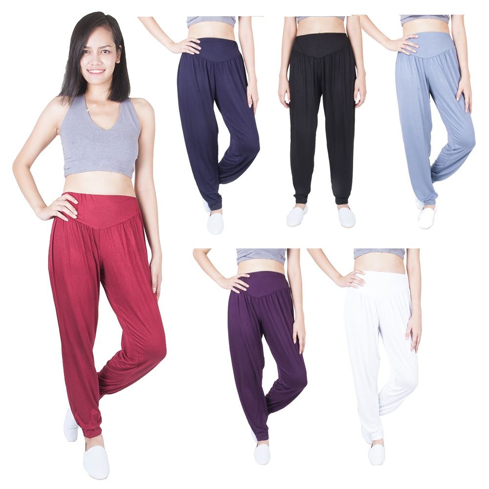 Women's Solid Long Yoga Pants Rayon Spandex Harem Palazzo ...