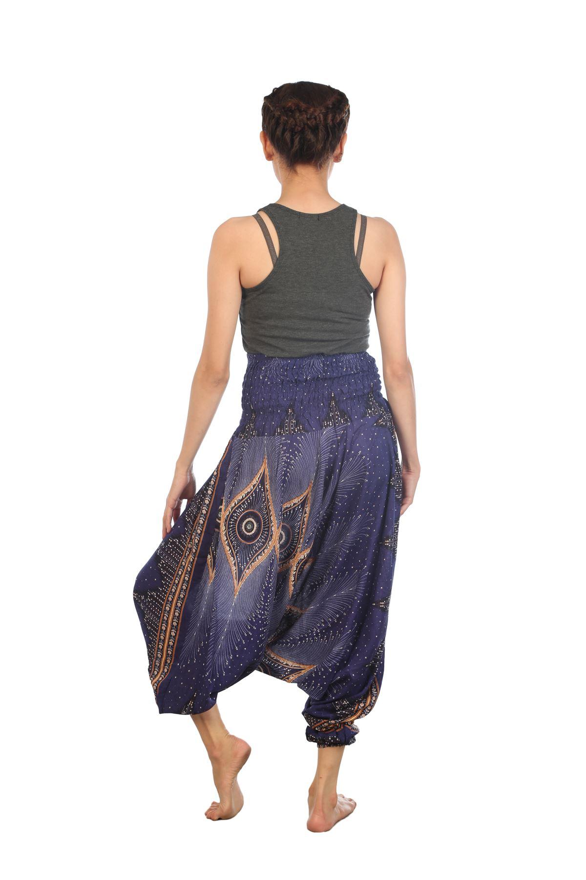 Women Floral Smocked Waist Harem Pants Jumpsuit Casual ...