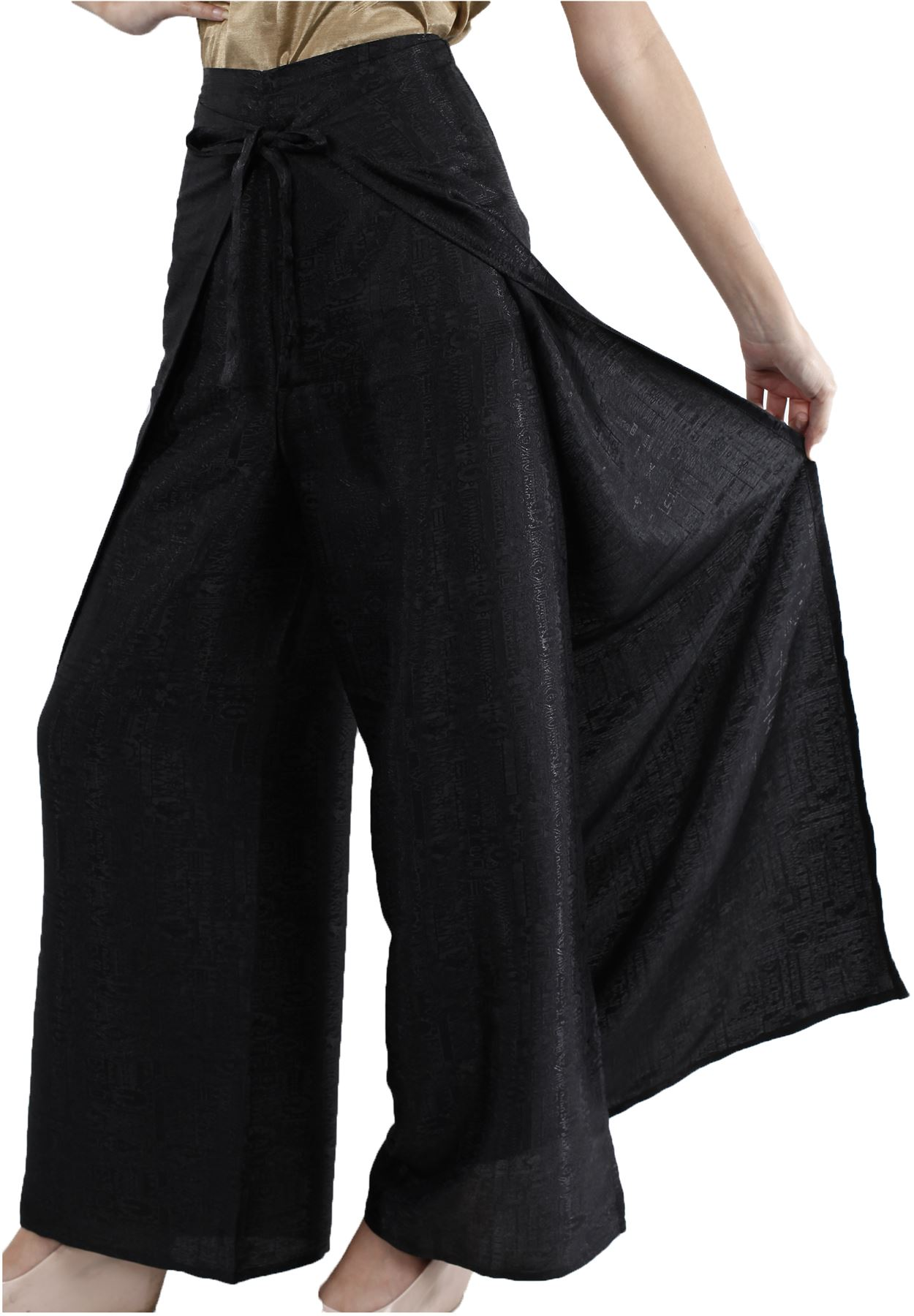 Womens Black Thai Silk Wrap Pants/Fisherman Sarong Harem ...