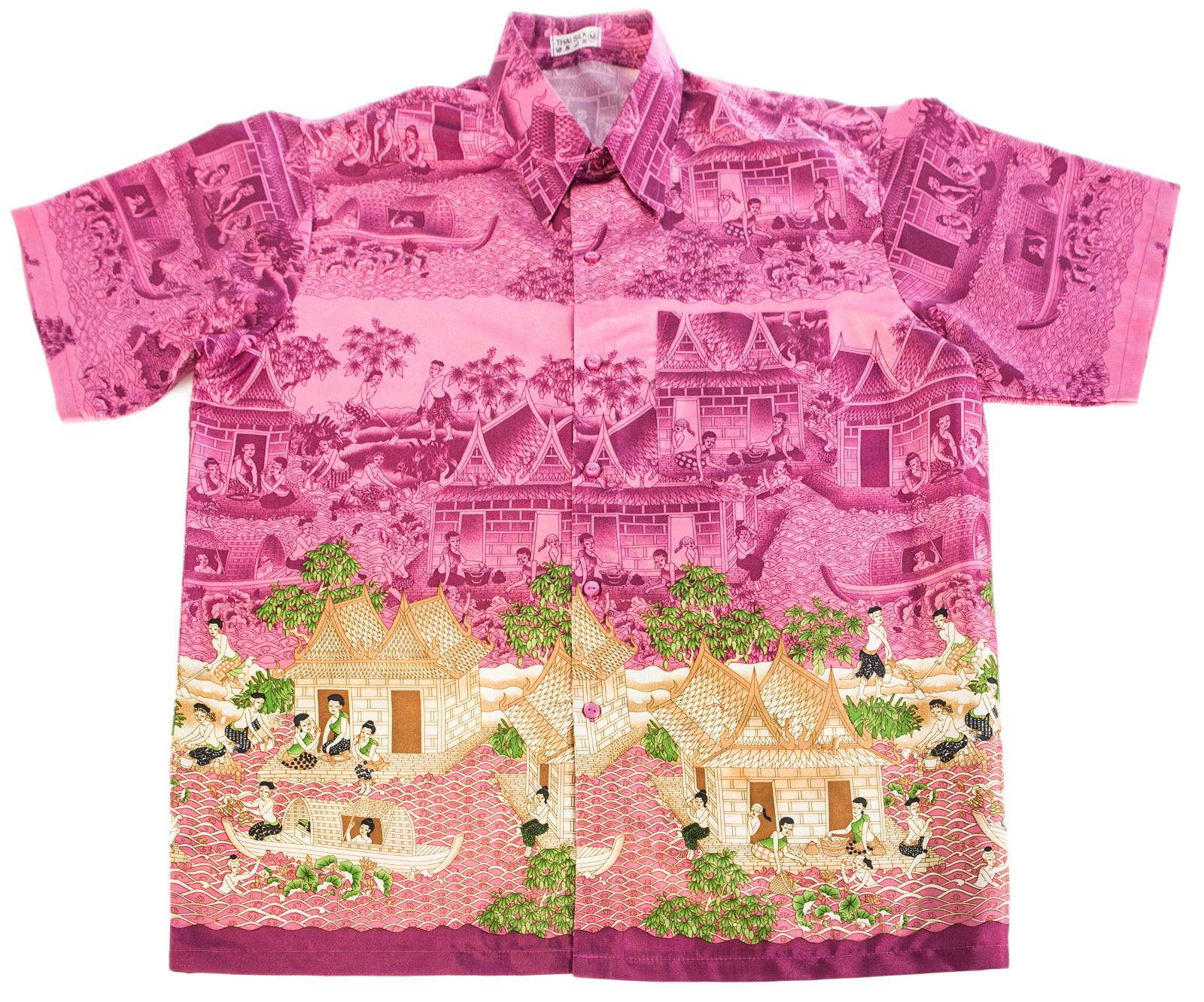 Colourful mens casual shirts thai traditional synthetic for Silk short sleeve shirt