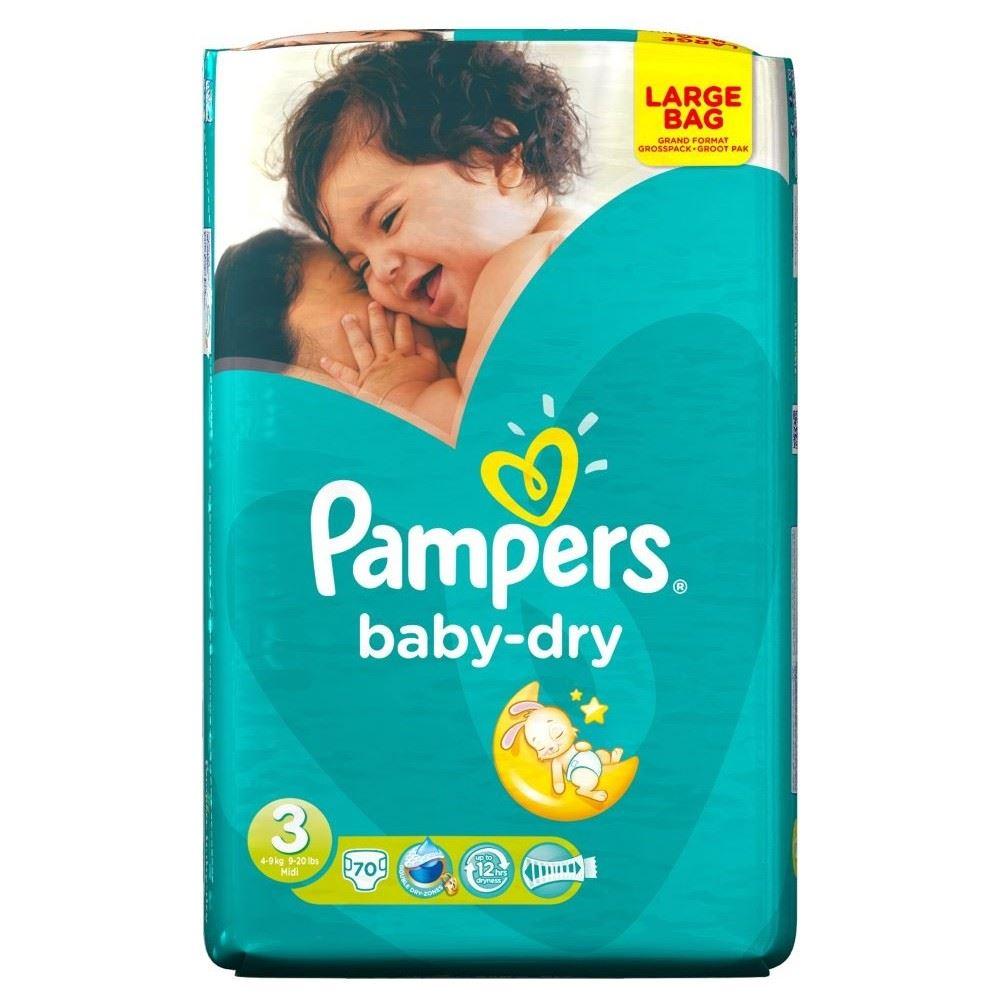 pampers baby dry size 3 midi 4 9kg 70 ebay. Black Bedroom Furniture Sets. Home Design Ideas