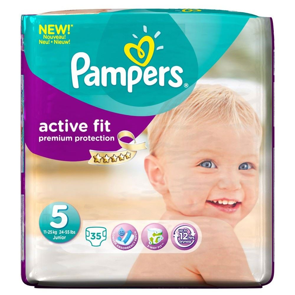 pampers active fit nappies are offered in sizes 3, 3+, 4, 4+, 5