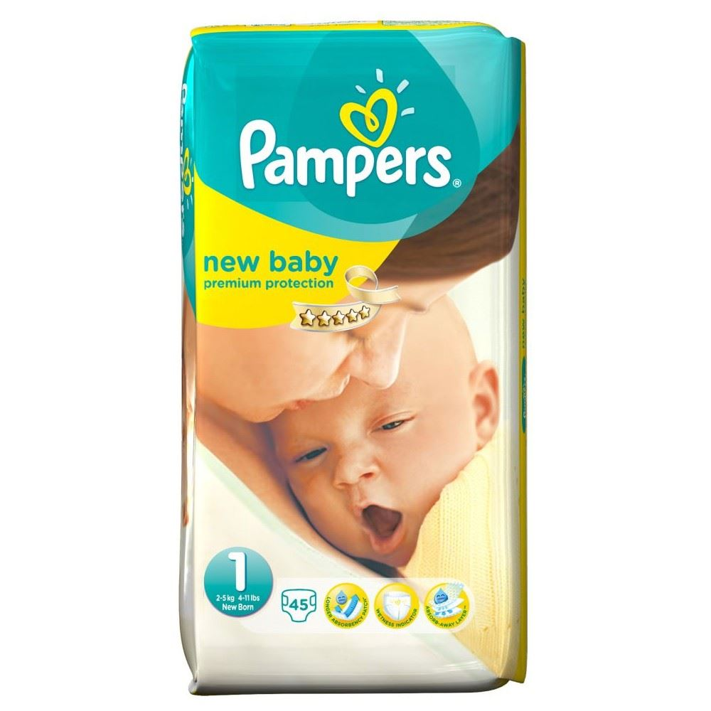 pampers new baby size 1 newborn 2 5kg 45 ebay. Black Bedroom Furniture Sets. Home Design Ideas