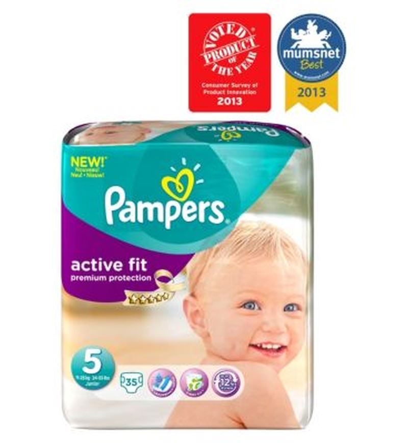 pampers active fit nappies size 5 essential pack 35 nappies ebay. Black Bedroom Furniture Sets. Home Design Ideas