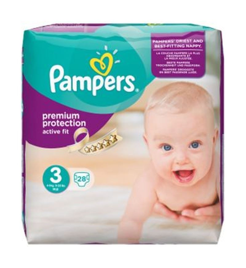 pampers active fit size 3 midi carry pack 28 nappies ebay. Black Bedroom Furniture Sets. Home Design Ideas