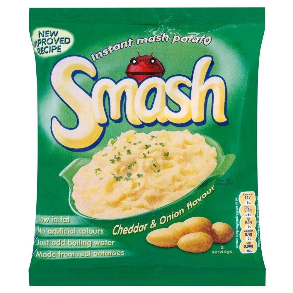 Smash Instant Mash Potato Cheddar & Onion Flavour (107g) for sale