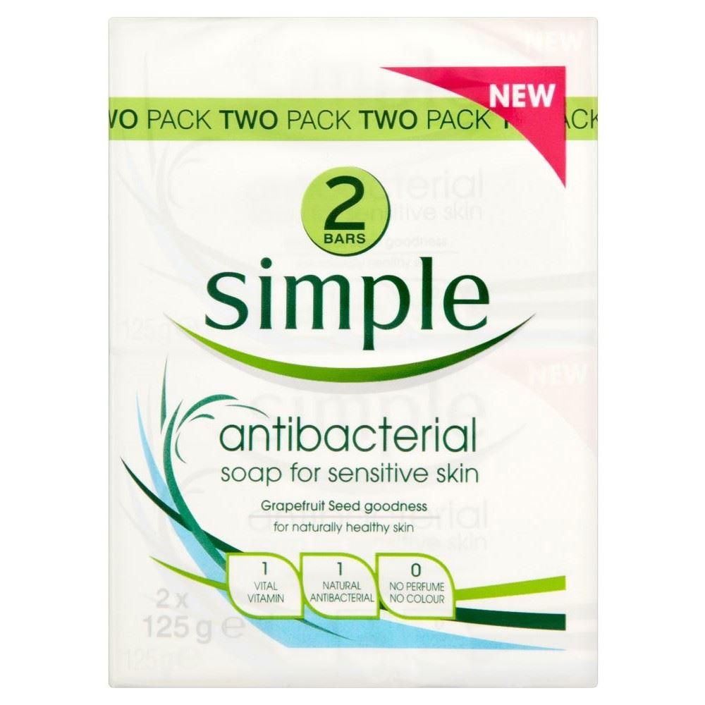Simple Antibacterial Bar Soap For Senstive Skin 2x125g