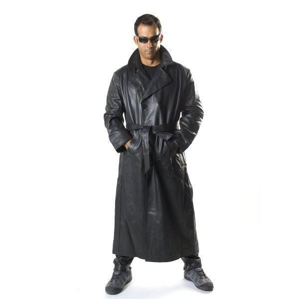 Men S Cowhide Leather Double Breasted Long Coat With Belt