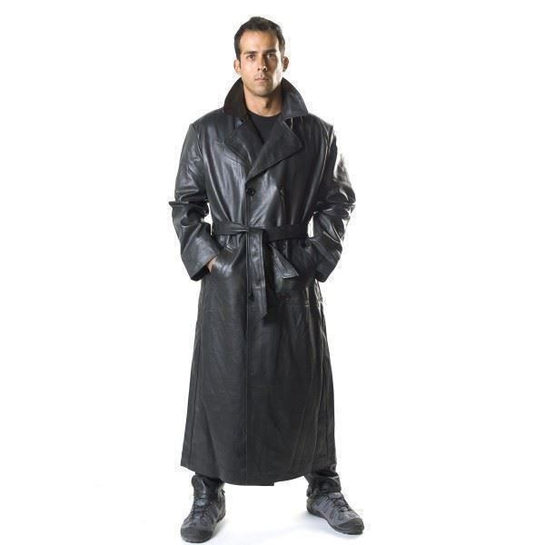 men 39 s cowhide leather double breasted long coat with belt trench coat size s 3xl ebay. Black Bedroom Furniture Sets. Home Design Ideas