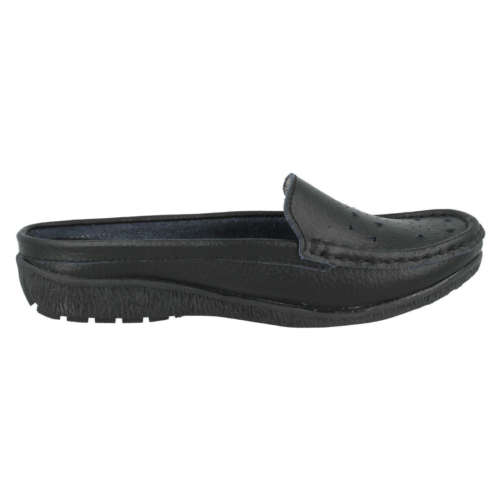 eaze leather slip on backless mule shoes f3102 ebay