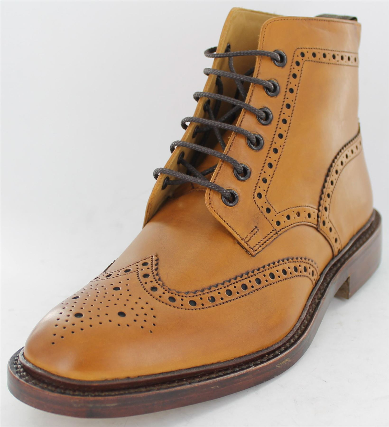 Mens Loake Boots Burford 2 Tan Leather Brogue Style Smart Lace Up ...